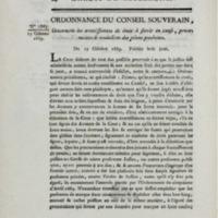 Ordonnance du conseil souverain, concernant les avertissements de droit à servir en cause, procurations et traductions des pièces produites