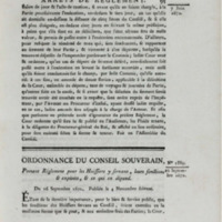 Ordonnance du conseil souverain, portant règlement pour les huissiers y servant, leurs fonctions & exploits, & ce qui en dépend